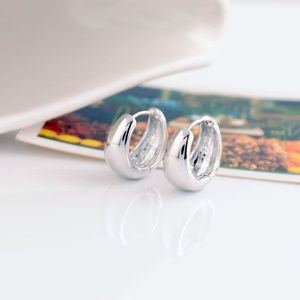 Jewelry - 18K White Gold GF Hoop Huggie Earrings 15mm